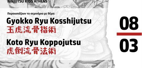 Σεμινάριο Ninjutsu με θέμα: Gyokko Ryu Kosshijutsu 玉虎流骨指術 Koto Ryu Koppojutsu 虎倒流骨法術 στο Bujinkan Banbutsu Ruten Dojo από τον Δημήτρη Κωνσταντίνου
